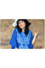 Blue-vintage-dress-brown-forever-21-hat-white-vintage-scarf-white-mollini-