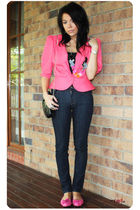 pink vintage jacket - pink Boutique in Hong Kong shoes - blue Nudie high-waisted