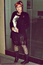 pull&bear jacket - Stradivairus t-shirt - vintage skirt - Zara tights - Mustang