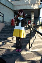 black Zara cardigan - cream pull&bear t-shirt - yellow H&M skirt - bubble gum Se