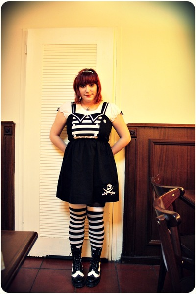 black Criminal Damage dress - white Oysho t-shirt - white Claires socks - black