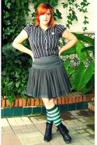 Stradivarius shirt - Mango skirt - offbrand socks - vintage boots