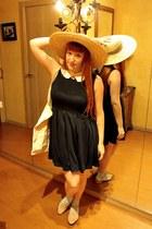 navy cotton kling dress - cream straw kling hat - light blue cotton asos socks