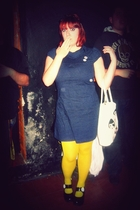 blue Stradivarius dress - yellow Calzedonia tights - black offbrand shoes - whit