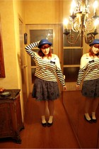 blue H&M hat - ivory pull&bear shirt - blue Vintage costume skirt - ivory Primar