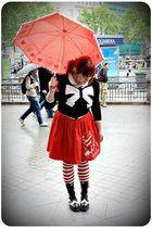 black H&M cardigan - white Zara shirt - red Metamorphose Temps de Fille skirt -