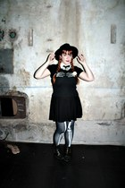 black studs suiteblanco boots - black H&M hat - black cotton H&M skirt