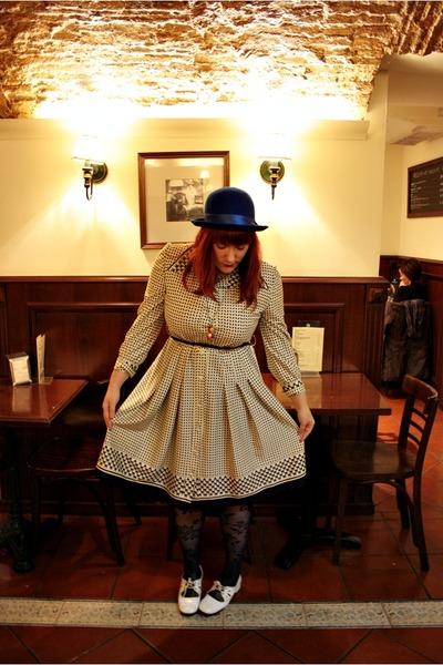 blue H&M hat - ivory Vintage costume dress - blue Zara tights - white vintage fr