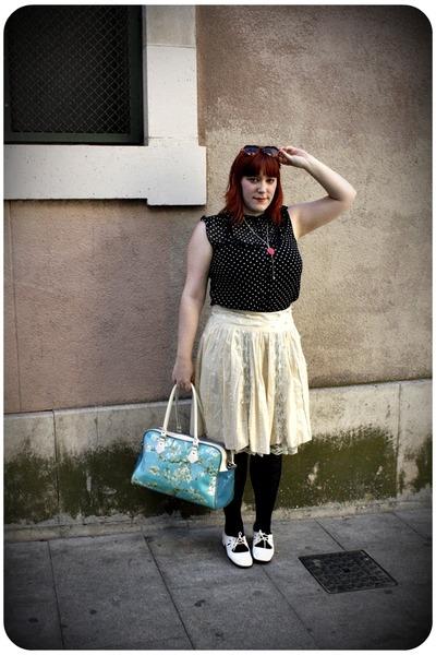 black H&M blouse - beige vintage skirt - white vintage shoes - red H&M sunglasse