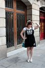 Black-criminal-damage-dress-white-vintage-shoes-yellow-oysho-hat