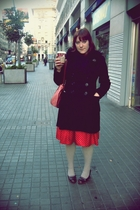 black green coast coat - black H&M scarf - red syndrome skirt - beige Calzedonia