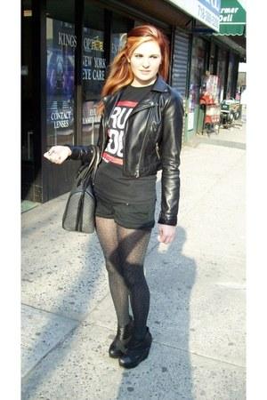 H&M jacket - leopard Target tights - vintage bag - Forever 21 shorts - Kiss The