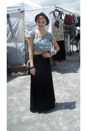 silver crop top Forever 21 top - black maxi skirt vintage skirt