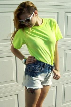 blue shorts - chartreuse Jerzee t-shirt