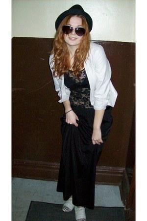 beige Forever 21 blazer - black maxi skirt vintage skirt - black lace up H&M top