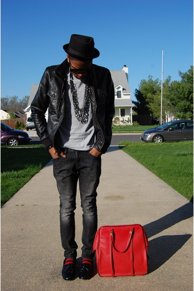 black Charles & 12 jacket - silver Hanes t-shirt - gray Pac Sun jeans - red vint