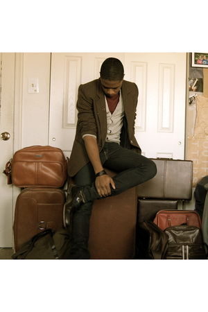 vintage blazer - Various Luggage accessories - Charles & 12 cardigan - Levis jea