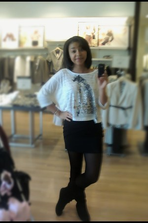 boots - shirt - skirt - Old Navy stockings