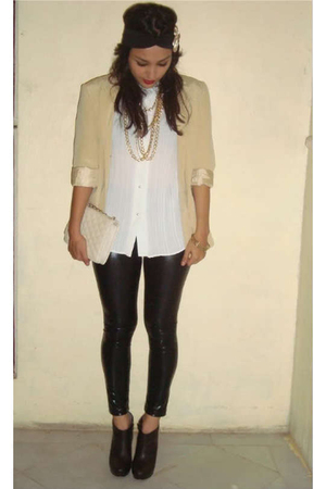 beige blazer - white blouse - black leggings - brown shoes - gold accessories