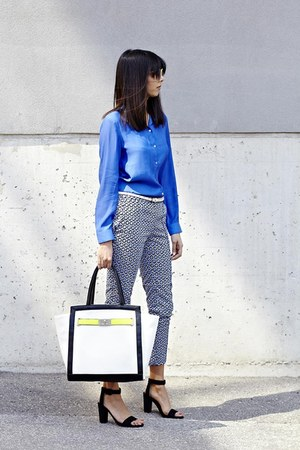 blue H&M blouse - mendola tote Aldo purse - graphic H&M pants