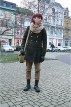 dark green c&a coat - black Pure Trash boots - tan thrifted jeans