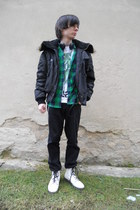 white humanic boots - black Mil-Tec coat - black Levis jeans