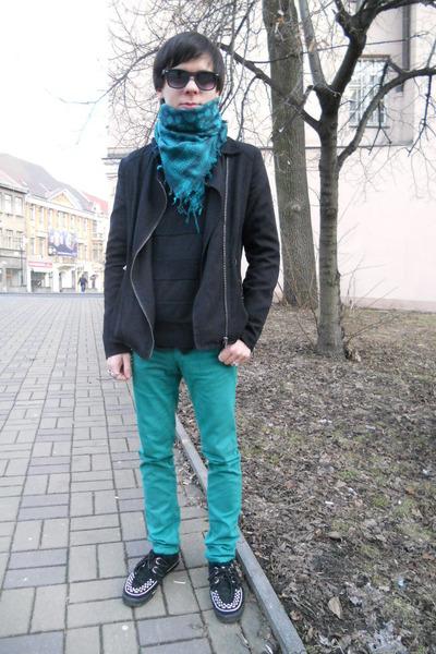 black TUK boots - teal New Yorker jeans - black Gate jacket - black Gate sweater