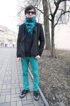 black TUK boots - teal New Yorker jeans - black Gate jacket - black Gate sweater