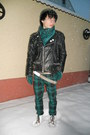 White-humanic-boots-black-vintage-jacket-teal-thrifted-scarf