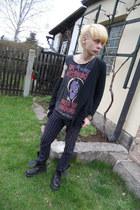 black Invader boots - deep purple Pimkie pants - blue Gate necklace