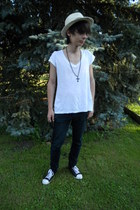 beige H&M hat - black Mudd jeans - black c&a necklace - white New Yorker t-shirt