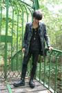 Black-invader-boots-heather-gray-thrifted-coat-black-denim-co-jeans