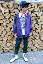 white humanic boots - black etnies hat - deep purple New Yorker jacket