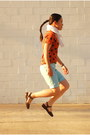White-polka-dot-target-scarf-light-blue-dyed-express-shorts