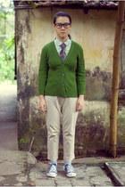 green thrifted cardigan - olive green Gap shirt - tan pants