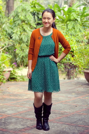 black boots - teal dress - burnt orange Target cardigan