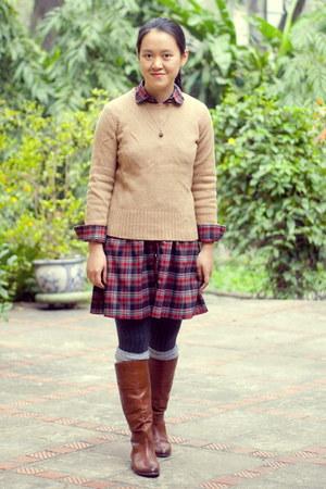 brown Aldo boots - brick red plaid dress - tan JCrew sweater
