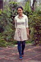 tan plaid thrifted dress - teal kohls tights - off white Mango cardigan