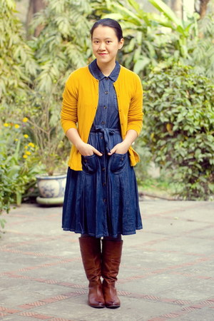 dark brown Aldo boots - navy Anne Klein dress - mustard Target cardigan