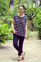black striped Forever21 t-shirt - black Hermes jeans