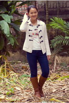 tawny Bamboo boots - navy Forever 21 jeans - white thrifted cardigan
