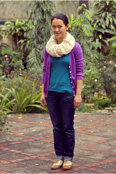 ivory vintage scarf - navy Charlotte Russe jeans - purple Forever21 cardigan