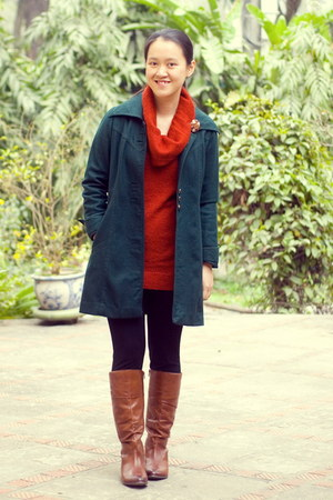 brown Aldo boots - forest green thrifted coat - burnt orange Target sweater