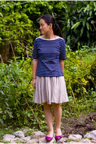 navy striped thrifted shirt - beige khaki skirt - magenta Payless flats