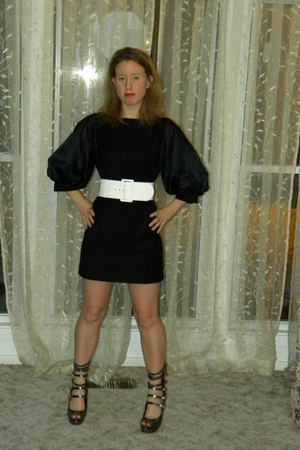 black Bebe dress - white Bebe belt - brown Bebe shoes
