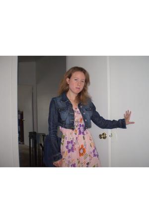 pink Tian Mu dress - blue Guess jacket