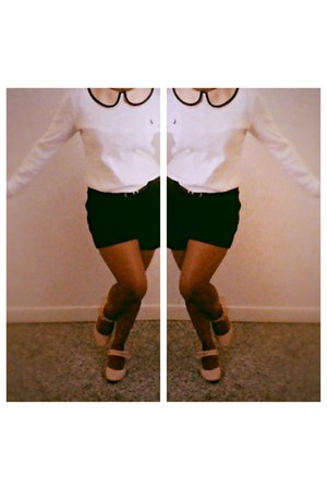 black work Forever 21 shorts - white crew neck Ralph Lauren sweater