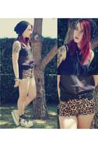 BLANCO blouse - platform boots - studs hat - tigre print H&M shorts