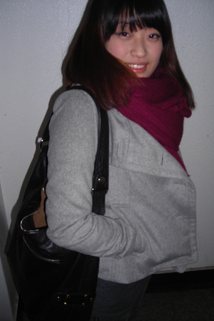 silver Tomboy jacket - gray shirt - silver jeans - black purse - red scarf