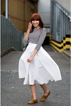 black vintage shirt - white vintage skirt - gold vintage shoes